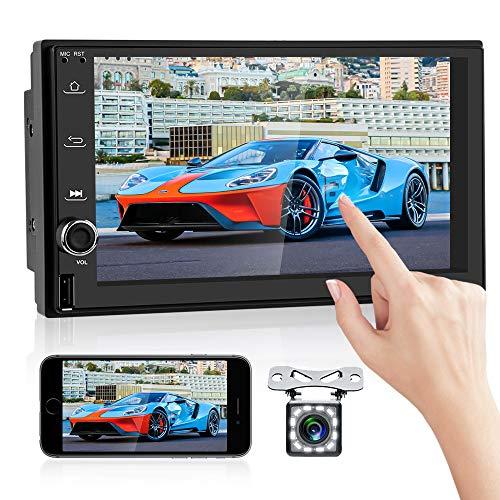 OiLiehu Android Doppel Din Autoradio Audio Bluetooth Touch MP5 Player, 7 Zoll Multimedia Stereo, Unterstützung Dual Screen Display,Mirror Link USB FM WiFi GPS Navigation & Rückfahrkamera