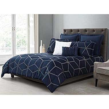 5 Piece Navy Blue 3D Square Shape Pattern Comforter King Set, Beautiful Modern Geometric Theme Bedding, High-End Rich Textured Design, French Country Style, Solid Color, Microfiber Polyester, Unisex