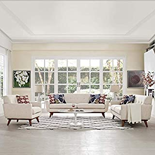 Modway Engage Mid-Century Modern Upholstered Fabric Sofa, Loveseat and Armchair in Beige (B07G9Z77J7) | Amazon price tracker / tracking, Amazon price history charts, Amazon price watches, Amazon price drop alerts