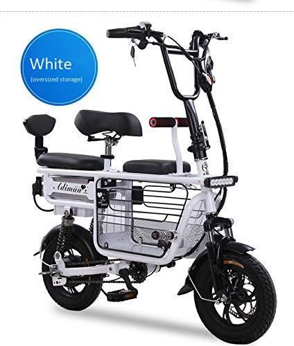 Bicicleta eléctrica Mini Plegable Dos Baterías de litio redondas Scooter de viaje Batería de adultos Scooter Batería de litio Tres asientos 12 Pulgadas 250 KG Carga de rodamiento,White,48V8A/30KM