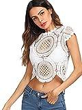 WDIRARA Women's Sheer Short Sleeve Shirt Blouse See Through Sexy Mesh Crop Tops White M