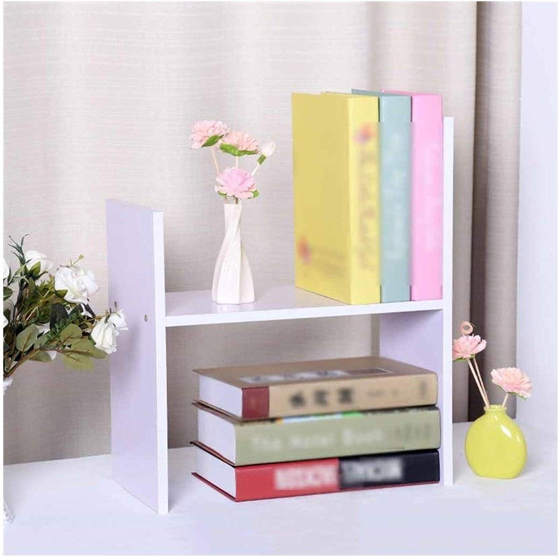 LQQGXLoffice Furniture Simple Bookshelf, Computer Desktop Small Bookshelf Bookcase Storage Rack (color   White)