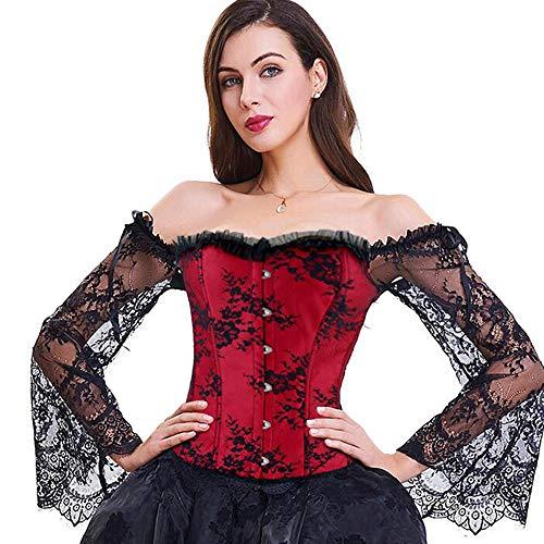 Damen Corsage Top, mit Ärmel Taillen Korsett, Bustier Corset Dirndl Bluse Trachten Shirt (M/UK=6, Rot)