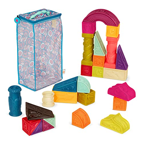 B. toys – Blocs pour bébés Elemenosqueeze – 26 blocs à empiler avec formes, chiffres, animaux et textures douces – Pour enfants de 6 mois et plus (26 pièces)