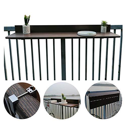 XCJJ Mesa plegable para colgar al aire libre, barandillas acoplables para balcón, patio, terraza, mesa de ocio en el parque Ahorre espacio, ancho de barandilla entre 1-15 cm,marrón,Los 60 * 27cm