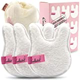 Cute Bunny Rabbit Shaped Reusable Makeup Remover Pads For Face & Eyes - Just Use Water- Washable - Microfiber - Large Double-sided 3 Pcs Set- Eco-friendly - Suits All Skin Types (White)