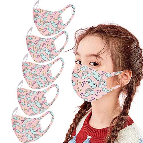 5PC Kinder Unisex Gesicht Bandana Waschbar Wiederverwendbare EIS Seide Dünn Stoff Gesicht Turban (5 PC,Ligjt Pink)