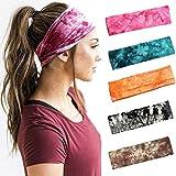Yean Boho Yoga elastische Stirnbänder, Batik-Druckmuster, Kopfbedeckung, breit, atmungsaktiv,...