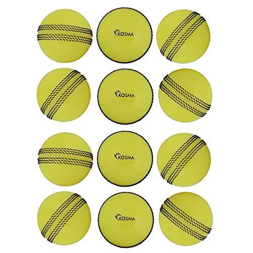 Kosma Set von 12Pc Windball Cricket Ball | Weiche Trainingsbälle | Indoor Training Skills Coaching Balls - Farbe: Gelb mit schwarzer Naht