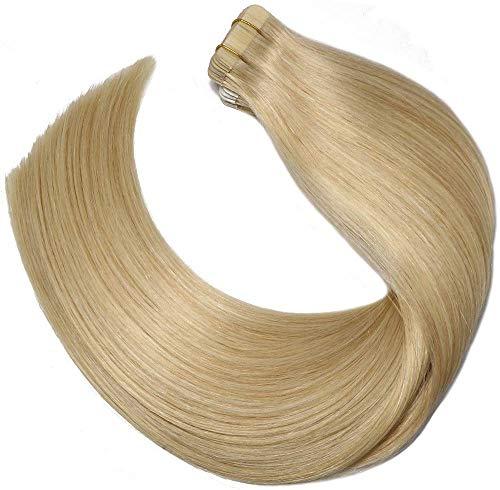 Ruban adhésif en Extensions de cheveux humains brésilien 20 pcs 50 gram soyeux droites transparente épais Extrémité Trame de peau de cheveux humains 100% Remy Hair (35,6 cm, # 613 Bleach Blonde)