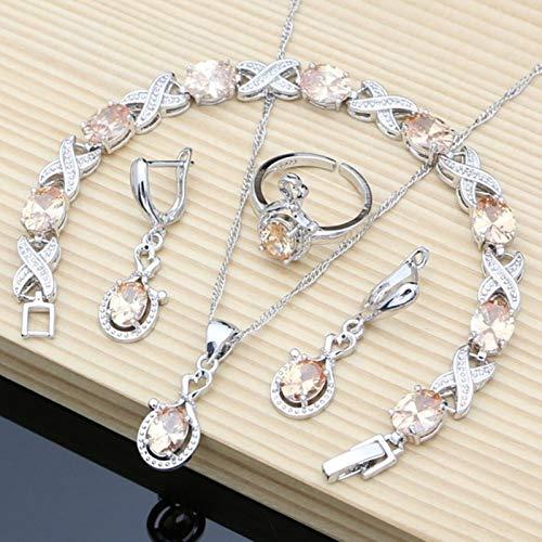 Conjuntos de Joyas de Plata 925 para Mujer, Pendientes Largo