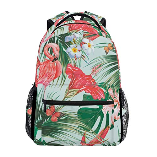 Mochila Portátil Tropical Flami-NGO Bird Jungle Palm Leaves Flower Mochila Informal Libro Mochila Escolar...