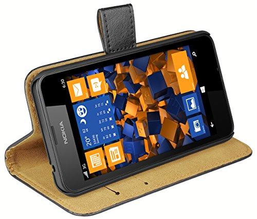 mumbi Echt Leder Bookstyle Hülle kompatibel mit Nokia Lumia 630 / 635 Hülle Leder Tasche Hülle Wallet, schwarz