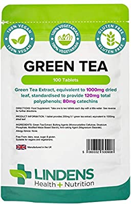 Lindens Green Tea 1000mg Tablets - 100 Pack - Green Tea Extract, Equivalent to 1000mg Dried Leaf, Standardised to Provide 120mg Total Polyphenols; 80mg Catechins - UK Manufacturer, Letterbox Friendly