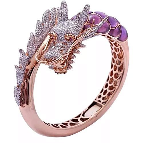 Ba30DEllylelly B Domineering Dragon Head Anillo de Diamantes Anillo de Dos Tonos Chapado en Oro Rosa de 18 Quilates Regalo de cumpleaños para Mujeres