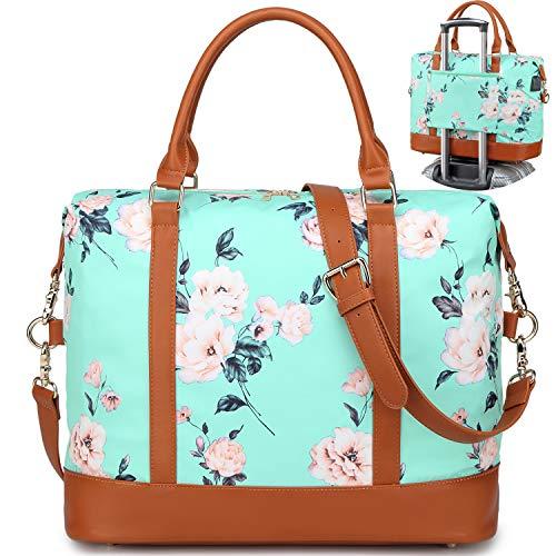 A AM SeaBlue Bolsa de Mano Mujer Bolso de Viaje Grande Compras Bolsa de Deporte Duffle Bag Bolsos Bandolera con Puerto USB para Weekender Señoras Compras, Viajes,Resistente al Agua (Verde)