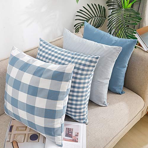 Juego de 4 fundas de almohada decorativas de algodón a cuadros, cuadradas, fundas de almohada a rayas, funda de cojín suave para sofá, dormitorio, sofá, 45 x 45 cm, azul claro