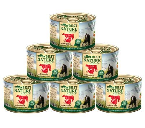 Dehner Best Nature kattenvoer voor volwassenen, rund en kalkoen, 6 x 200 g (1,2 kg)