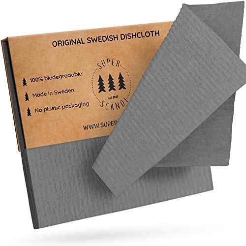 SUPERSCANDI - Strofinacci svedesi ecologici, riutilizzabili, sostenibili, biodegradabili, Confezione da 10, Colore Grigio.