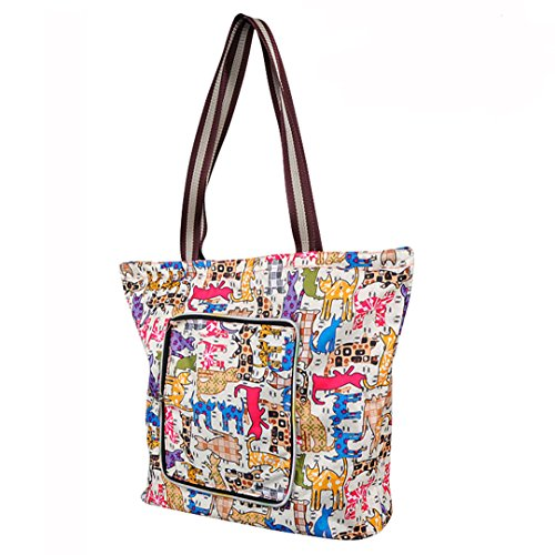 Millya - grande borsa da shopping impermeabile, pieghevole e creativa, borsa per riciclo da viaggio con tasca laterale, Oxford, Cartoon, large
