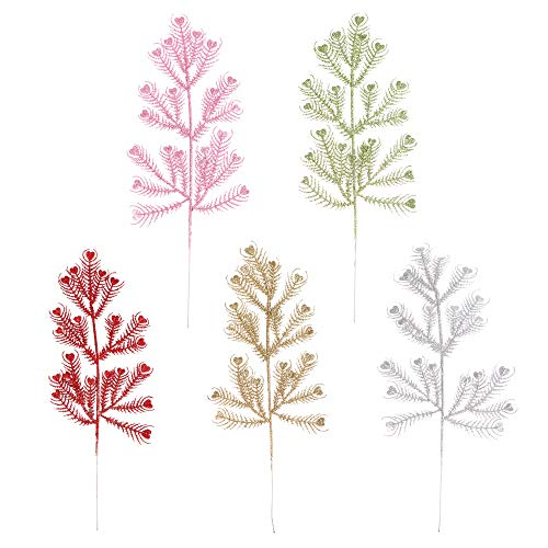 Festive Party Hanging Flowers Xmas Gifts Christmas Tree Decoration DIY Flower Arrangement Back Bamboo Leaves Gold Powder Leaf Fern Leaf(6)