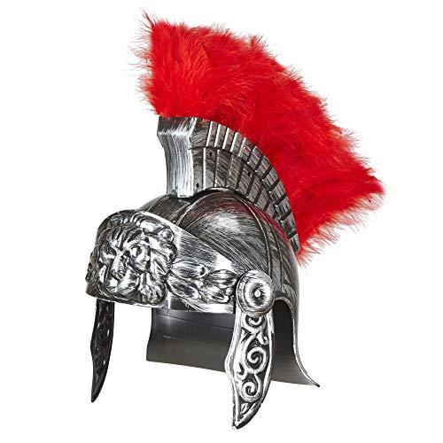 Widmann 03613 – Antiker Römerhelm, silber mit rotem Kamm, Soldatenhut, Gladiatoren Kopfbedeckung, Helm, Accessoire, Zubehör, Motto Party, Karneval