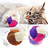 The DDS Store Cat Dog Pet Toy Sisal Hemp Knitted Ball Tricolor Biting