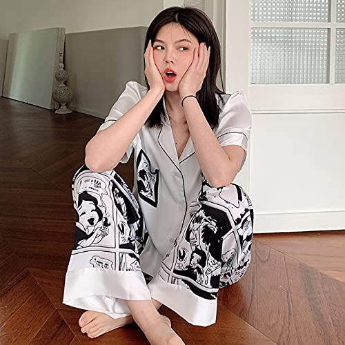 ML S HJDY Pijamas Set Mujeres Floral Silida Satin Satin Sleepwear Mangas Cortas Pantalones Largos Traje De Sueño Damas Seda Pijamas Inicio Ropa Nightwear,Blanco,XL