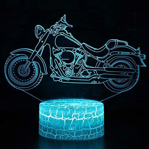 Novedosa motocicleta locomotora base de grietas lámpara de mesa pequeña luz de visión 3D luz LED decoración creativa lámpara de mesa pequeña acrílico multicolor luz nocturna multicolor