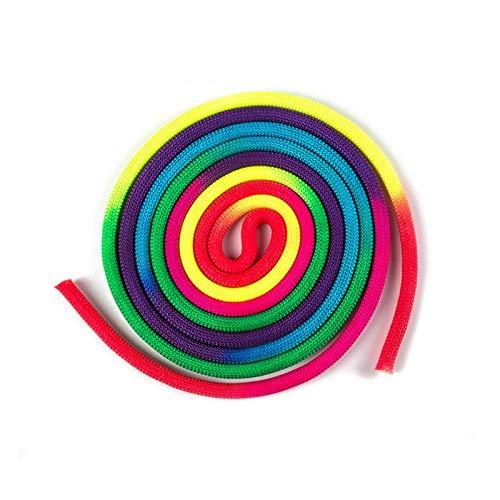 Modonghua Cuerda de gimnasia, color arco iris, cuerda de gimnasia rítmica, para deportes de competición, artes de entrenamiento, cuerda de saltar para deportes de gimnasia artística