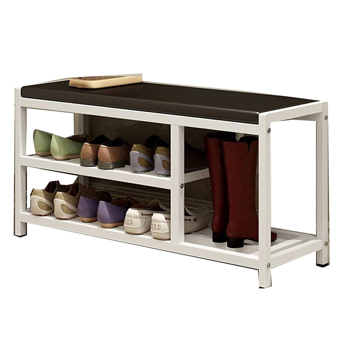引く真実そしてBNSDMM 靴の棚-靴のベンチ/靴のベンチの鉄の靴の棚の多層世帯の貯蔵の棚の靴の棚の永続的な貯蔵85x30x43cmを変えて下さい (Color : White)