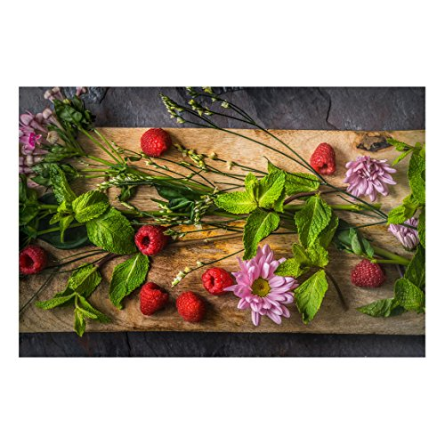 Bilderwelten Magnettafel - Blumen Himbeeren Minze - Memoboard Quer Wandbild Magnettafel Pinnwand Magnetboard Magnetpinnwand Magnetwand Stahl Küche Büro, Größe HxB: 40cm x 60cm