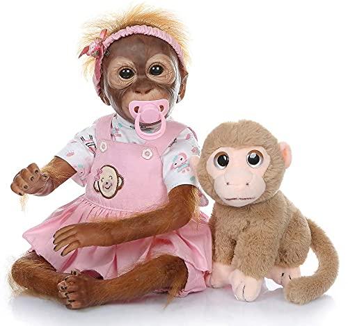 ZIYIUI Lebensechte Reborn AffenBaby Puppen Handgemacht 22 Zoll 55 cm Puppen Weiches Silikon Vinyl Magnetischer Mund Baby Neugeborenes Jungen Spielzeug