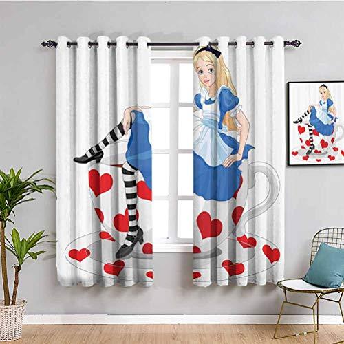 Cortina decorativa de Alicia en el País de las Maravillas con diseño de Alicia sentada en taza de té con forma de corazón, cortina de interior a rayas, multicolor de 54 x 39 pulgadas