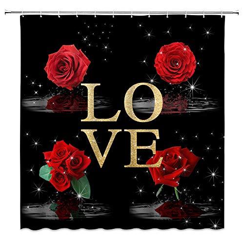 Duschvorhang mit roten Rosen, kreativer Liebe, Blumenmuster, schwarz, rote Rose unter Mond, schwarzer Sternenhimmel, weißer Schwan, rustikale Blume, Blüte, Valentinstag, Mädchen, 177,8 cm