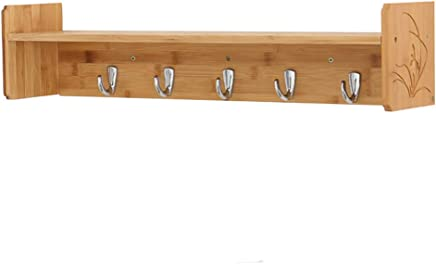 Coat Hook Wall Rack Wall Mounted Unit Bamboo Open Shelf 4/5 Metal Hooks Bathroom