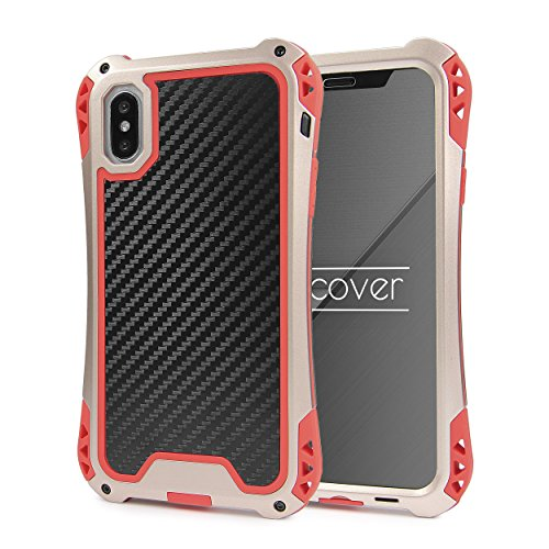 Urcover® telefoonhoes compatibel met Apple iPhone X, aluminium bumper aluminium outdoor beschermhoes carbon-look accessoires incl. display glas cover case shell etui -, champagne goud/rood