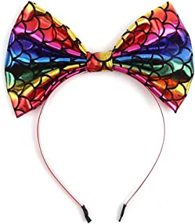 Rainbow Hair Hoop Headband Bows Girls Rainbow Bowknot Hair Accessories JBC36