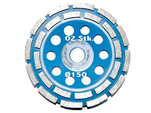 2 Stück Diamant Schleiftopf Durchmesser 150 mm für Betonschleifer und Winkelschleifer. Topfscheibe, Schleifteller, Schleifscheibe.
