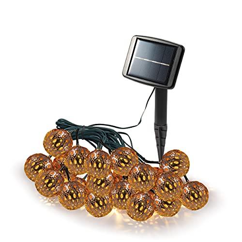 Orientalische Solar Lichterkette mit 20 LED - Lichtfarbe warmweiß 3000K - großes Solarmodul - Kabellänge 12 m - Lichterkette Garten Party Dekoration Solarleuchte, esotec 102186