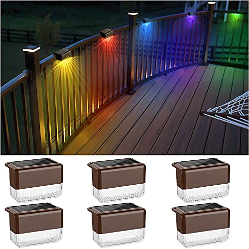 JACKYLED Solar Deck Lights Outdoor Step Lights Waterproof LED Solar Fence Lamp for Garden Pathway Pool Patio Stair Steps with 2 Lighting Modes(Warm White/Color Changing)- 6 Pack, Brown