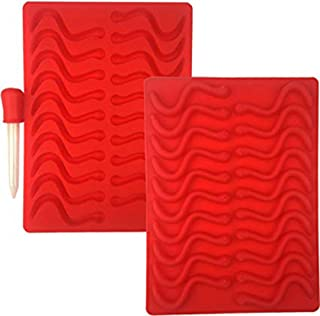 Mydio 20 Cavity Gummy Worm Silicone Molds with 1 Dropper,BPA Free FDA Approved,for DIY Candy,Cake Décor, Halloween Gummi Chocolate,Jelly Chocolate Soap Cake Wax,Red