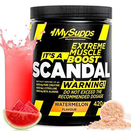 My Supps Scandal - Pre Workout Booster – dein hochdosierter Workout-Booster für jeden Tag – mit dem extra an Citrullin, Koffein & Kreatin, Made in Germany – 420g (Watermelon)