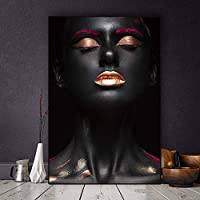 キャンバス壁アート絵画プリントアフリカの女性現代ポスターモジュラー写真ベッドサイドリビングルーム廊下家の背景の装飾-50x70cmフレームなし