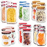 24 Mason Jar Zipper Bags Storage - for Food Snack Sandwich - Reusable Airtight Seal Food Bag Leak-Proof for Travel Camping or Kids - Reusable Resealable Ziplock Bottles Shaped Baggies