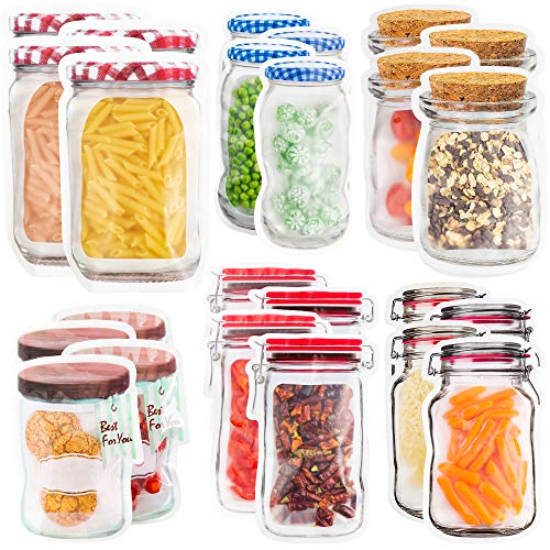 24 Mason Jar Zipper Bags Storage - for Food Snack Sandwich - Reusable Airtight Seal Food Bag Leak-Proof for Travel Camping or Kids - Reusable Resealable Ziplock Bottles Shaped Baggies for Nuts Cookies