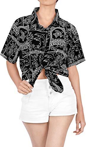 LA LEELA Blusas para Mujer Camisa Hawaiana nadan Mangas del Traje de baño de la Playa Corta l Halloween Negro