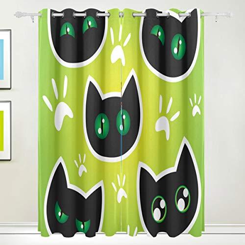 MOBEITI Cortinas Opacas Térmicas Aislantes Frío y Calor de Salón Dormitorio Moderno,Etiqueta engomada Emocional del Vector de los Gatos,con Ojales 2 Piezas 168 * 183cm