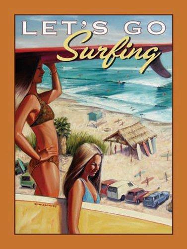 Surfer Girls Bikini Pin Up metalen bord stabiel plat nieuw 15 x 20 cm VS5109-1