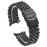Kai Tian Cinturino nero da 22mm in acciaio inossidabile Piega sull'estremità curva con fibbia Cinturino di ricambio orologio per uomo donna Bracciale tridimensionale affusolato